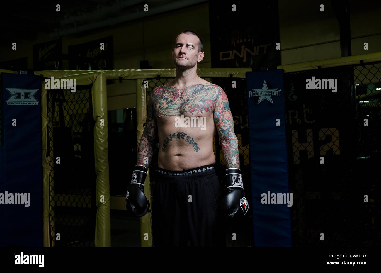 Former WWF Wrestler, CM Punk (Phil Brooks), photographed after his workout at Roufusport Gym and MMA Academy in - Stock Image
