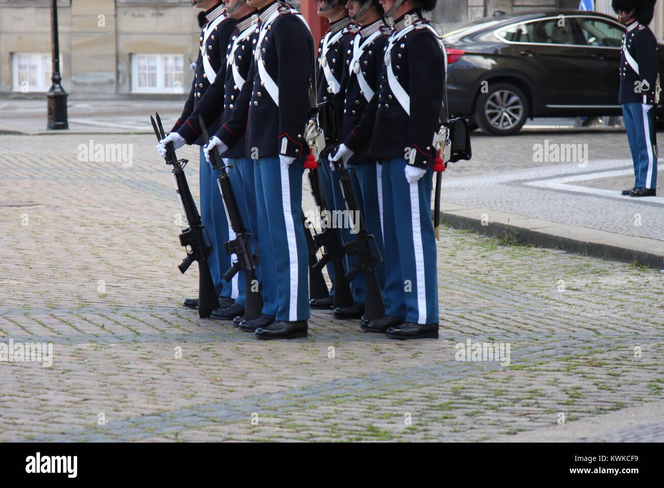 Royal guard on Amalienborg Palace Square in Copenhagen, Denmark - Stock Image