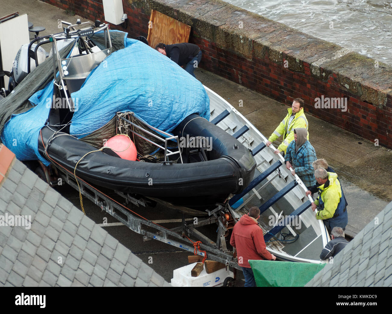 Eleanor Storm Newquay Harbour damage - Stock Image