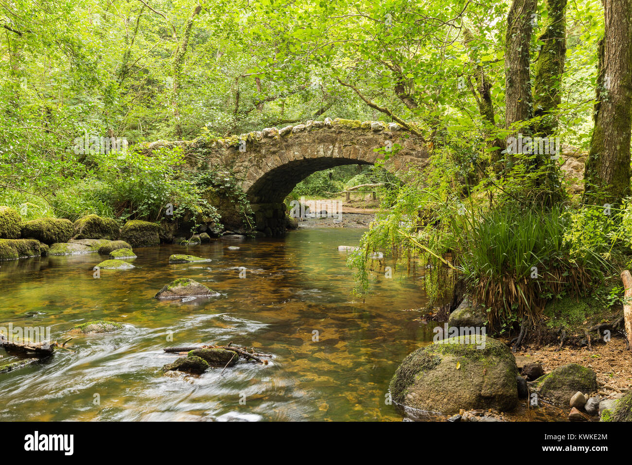 A riverside image of Hisley Bridge an old packhorse bridge over the river Bovey, shot at Dartmoor, Devon, England, - Stock Image