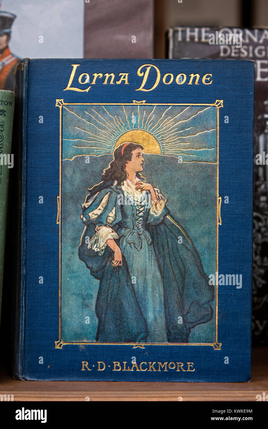 A vintage copy of Lorna Doone by R D Blackmore in the window of a secondhand bookshop in Edinburgh, Scotland, UK. Stock Photo