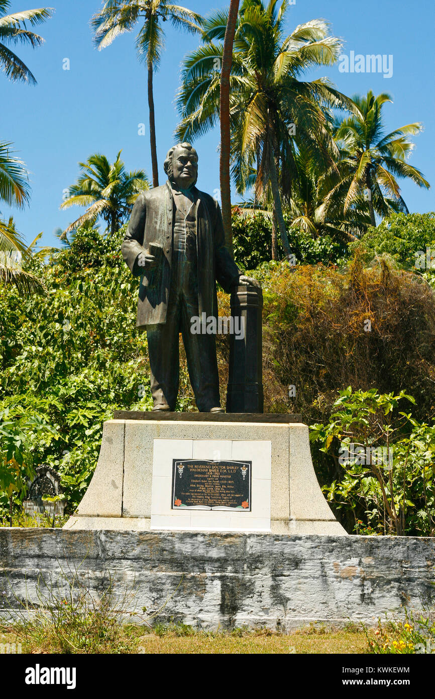 Statue of Reverend Doctor Shirley Waldemar Baker. Pangai city. Lifuka island. Ha´apai islands. Tonga - Stock Image