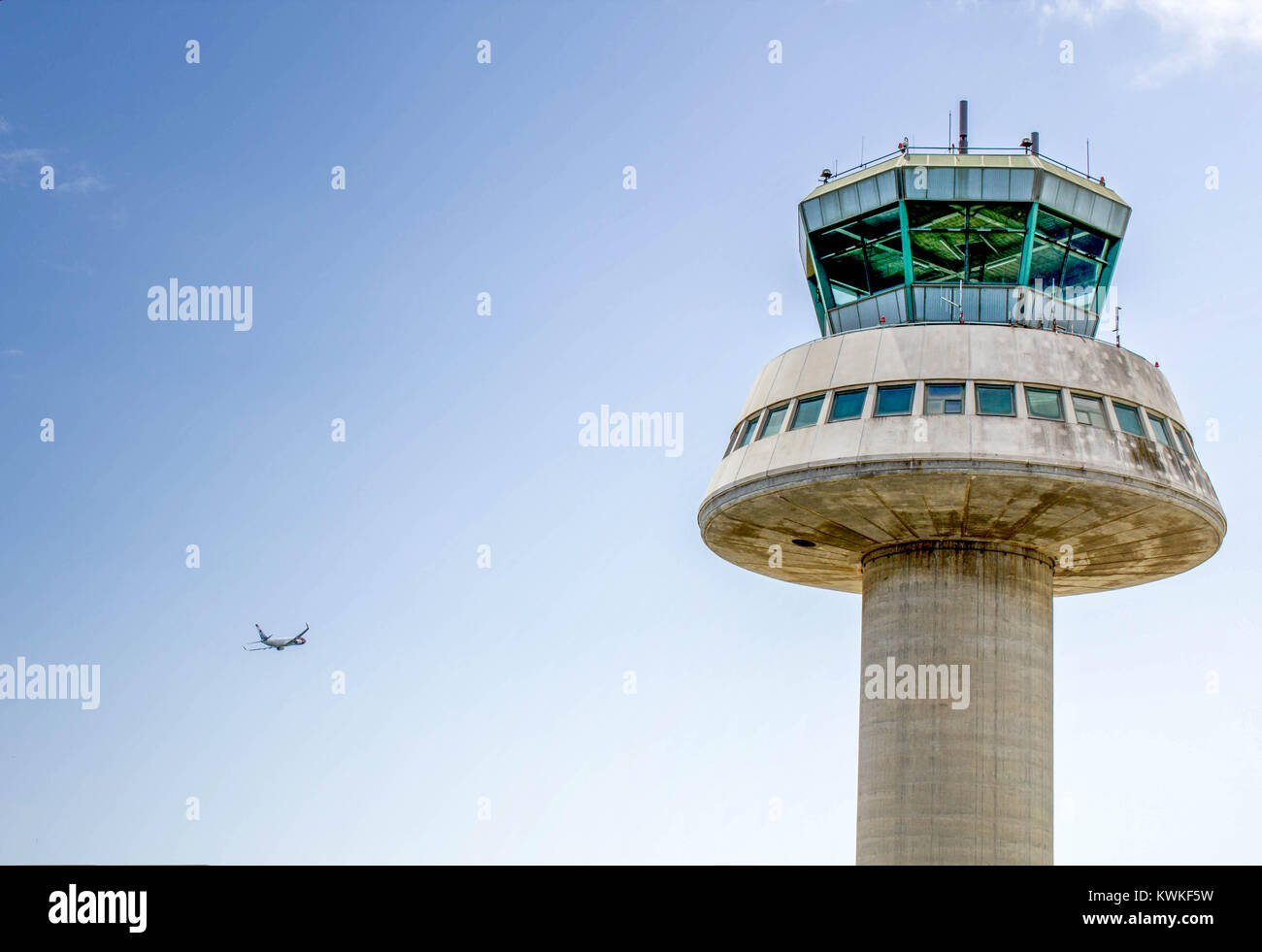 Air traffic control tower of Barcelona El Prat airport , Barcelona , Spain - Stock Image