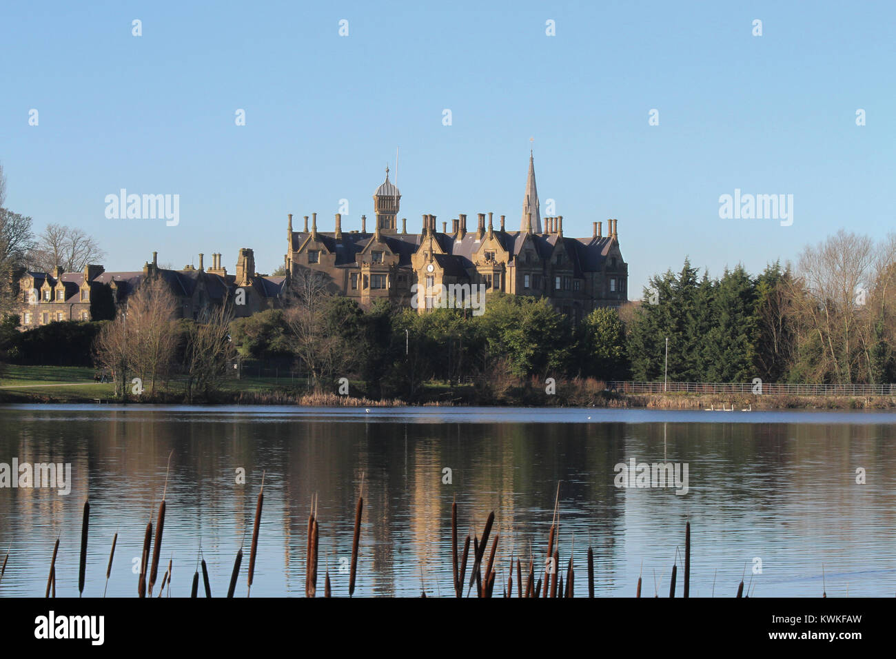 Brownlow House and Lurgan Park Lake in County Armagh Northern Ireland. Stock Photo