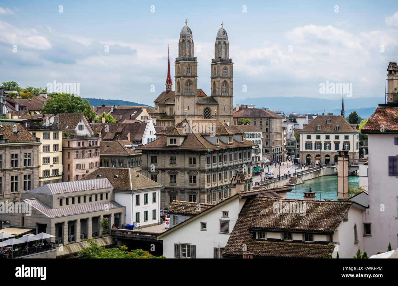 View of Zurich with Grossmünster church, Switzerland - Stock Image