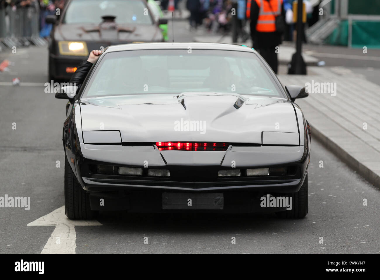 LONDON - JAN 01, 2018: Knight Rider Car K I T T takes part in the