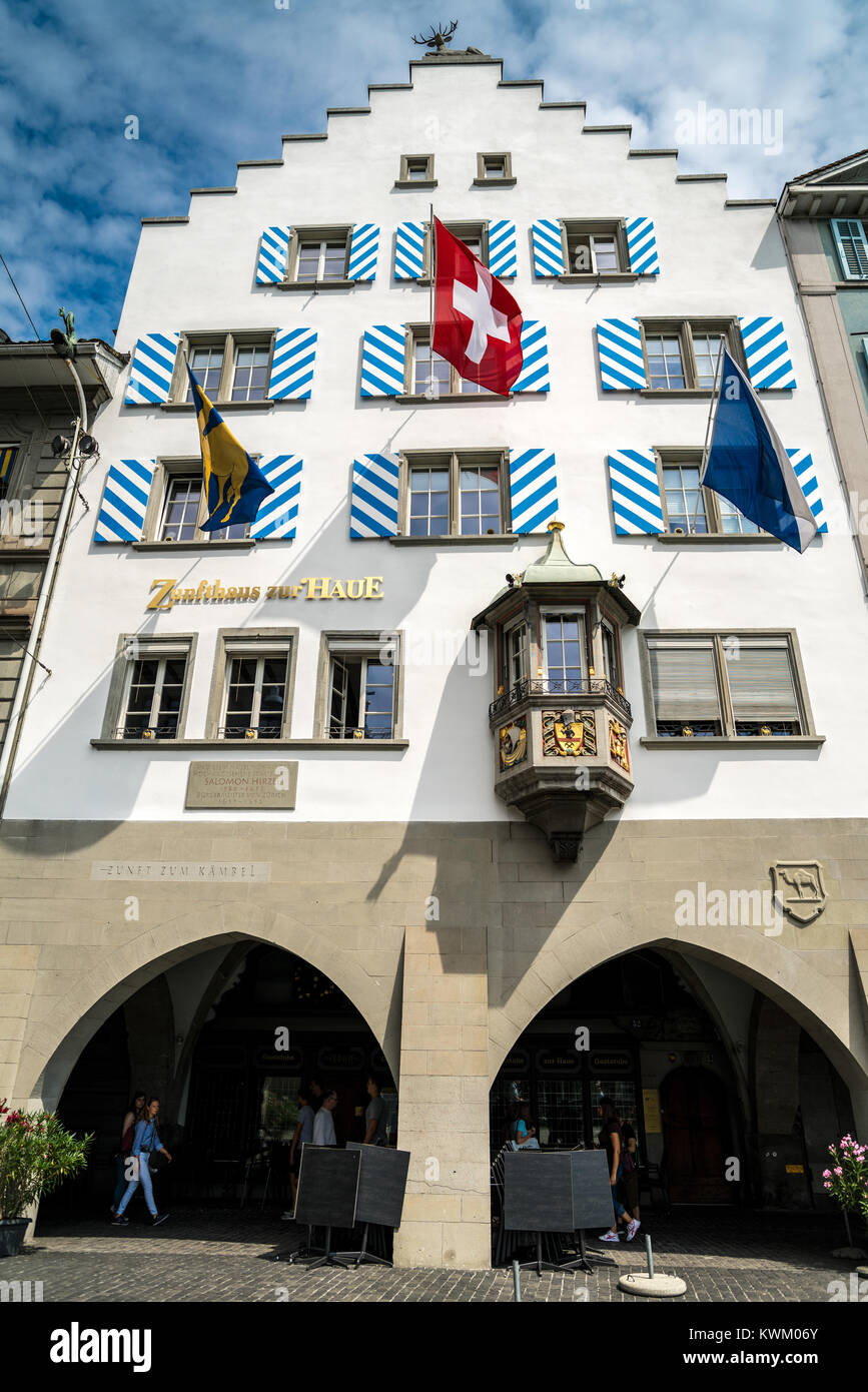 Guild house «Haue» at Limmatquai in Zurich, Switzerland - Stock Image