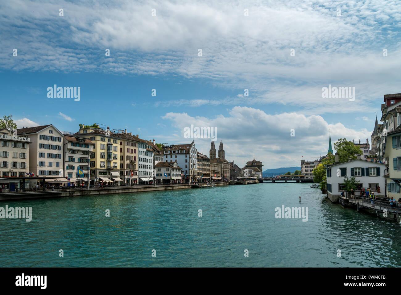 Limmatquai embankment in Zurich, Switzerland - Stock Image