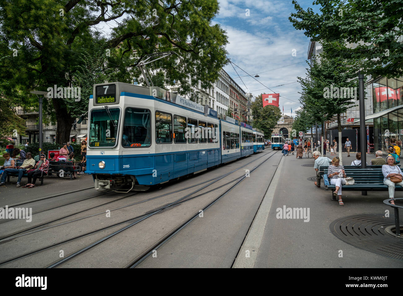 Tram in Bahnhofstrasse in Zurich, Switzerland - Stock Image
