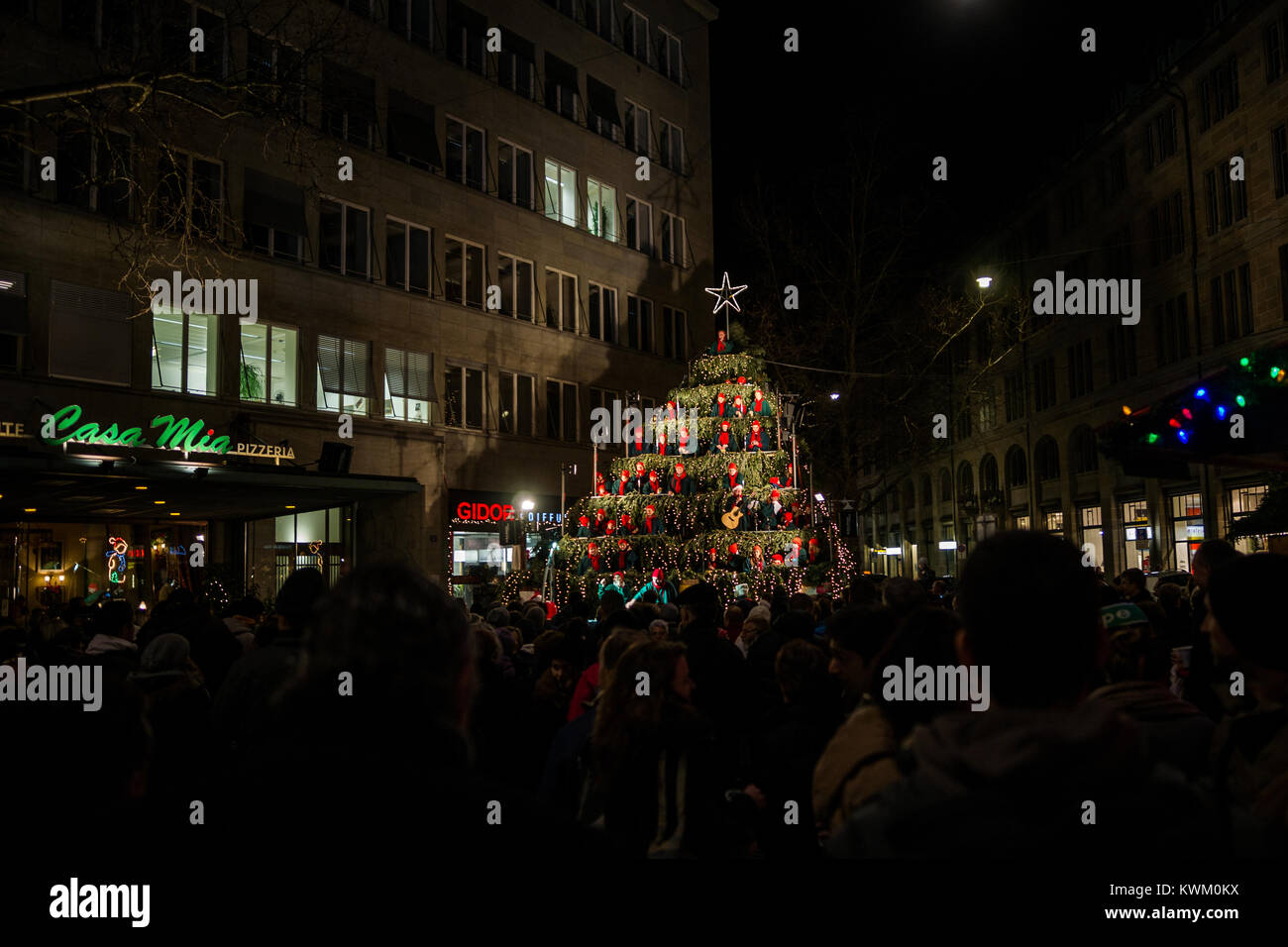 Christmas market in Zurich, Switzerland - Stock Image