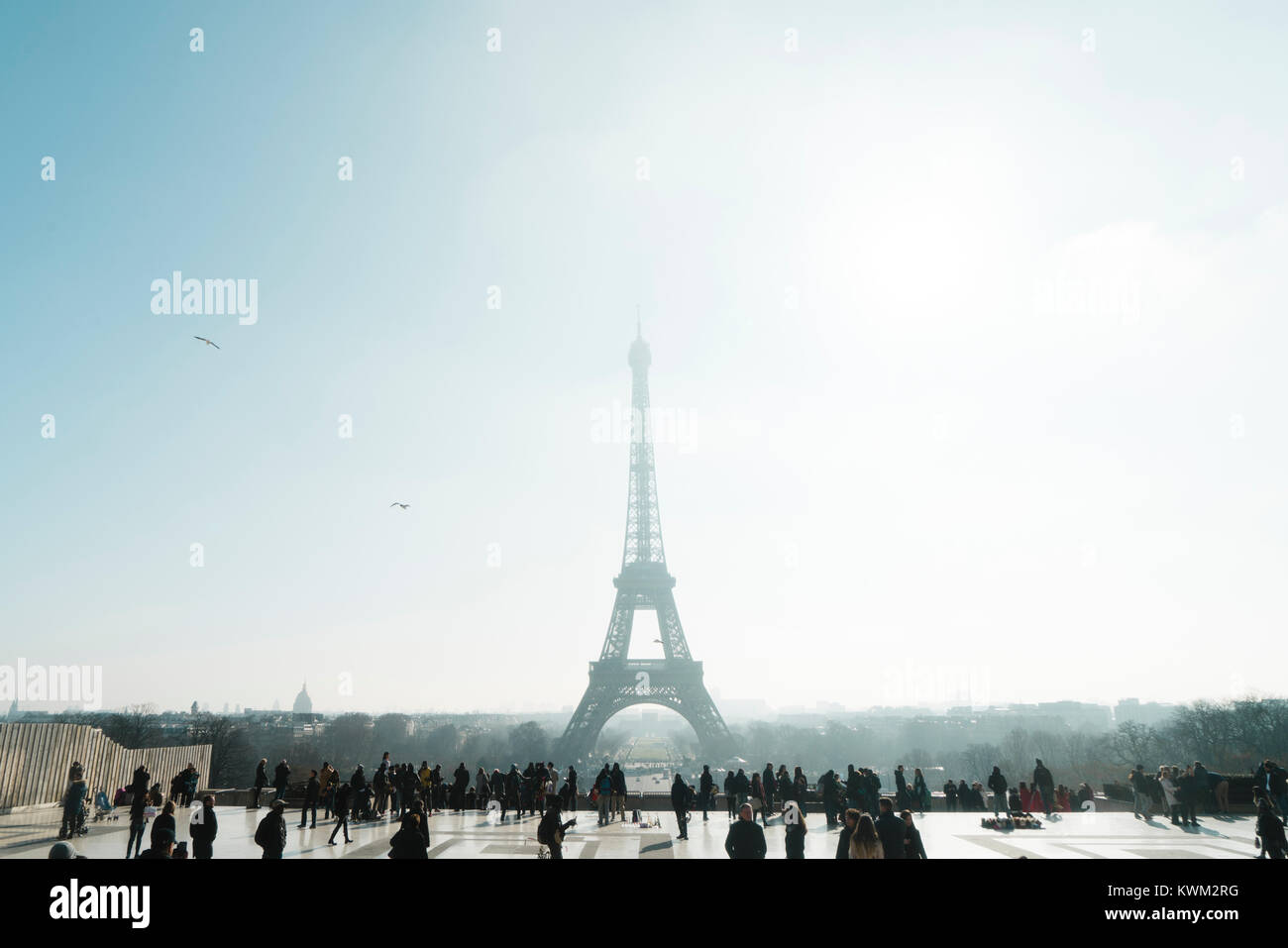 View of Eiffel tower against clear sky with tourists in foreground - Stock Image