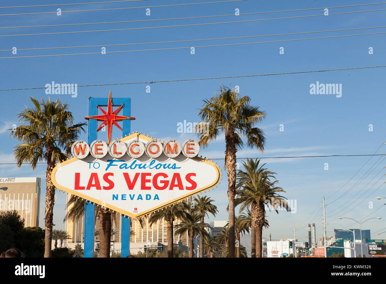 View of welcome to Las Vegas signboard against Sky in city - Stock Image