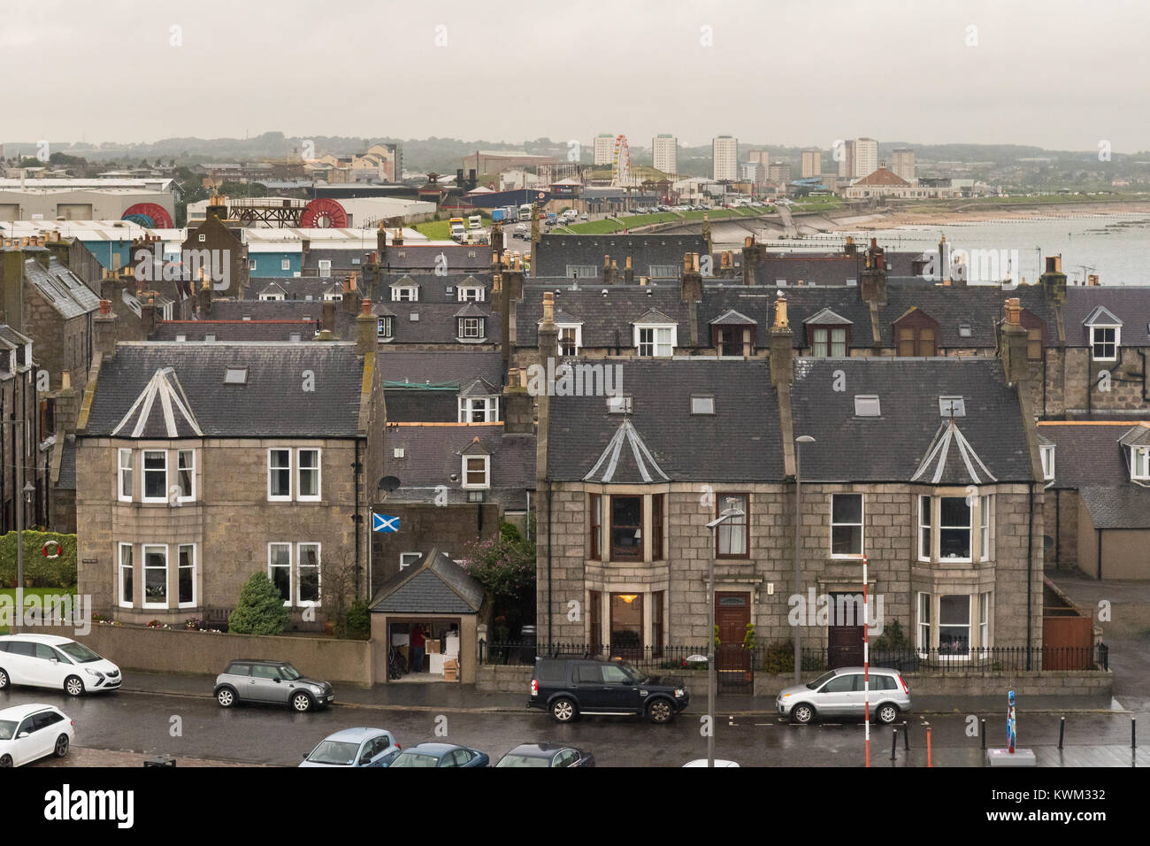 Aberdeen houses at Pocra Quay in the Footdee conservation area, Aberdeen, Scotland, UK - Stock Image