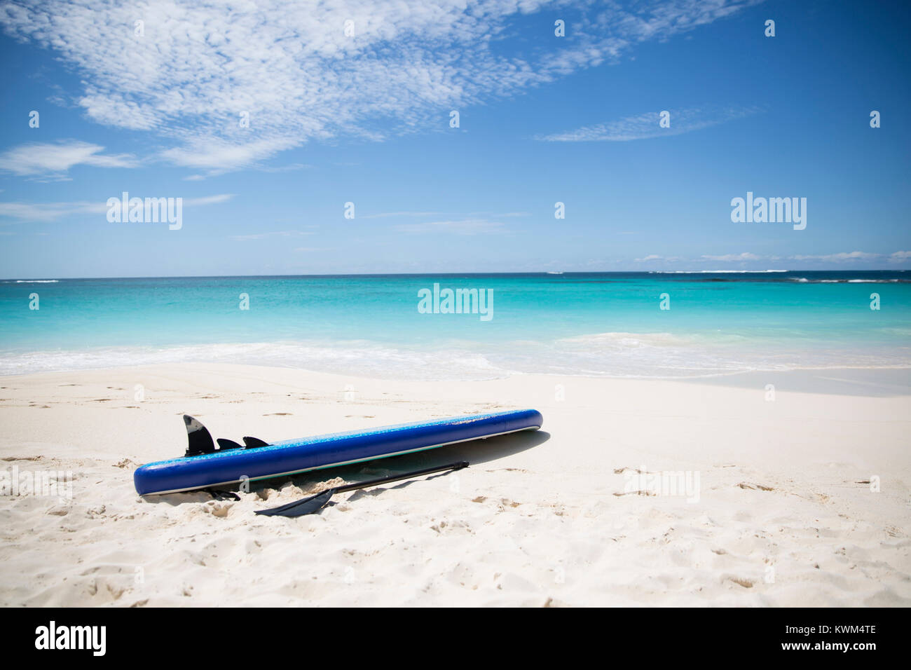 Paddleboard and oar at beach against sea - Stock Image