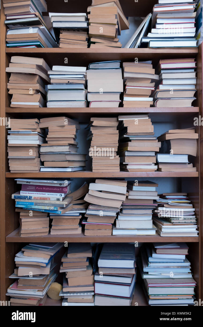 A large number of books on a shelf - Stock Image