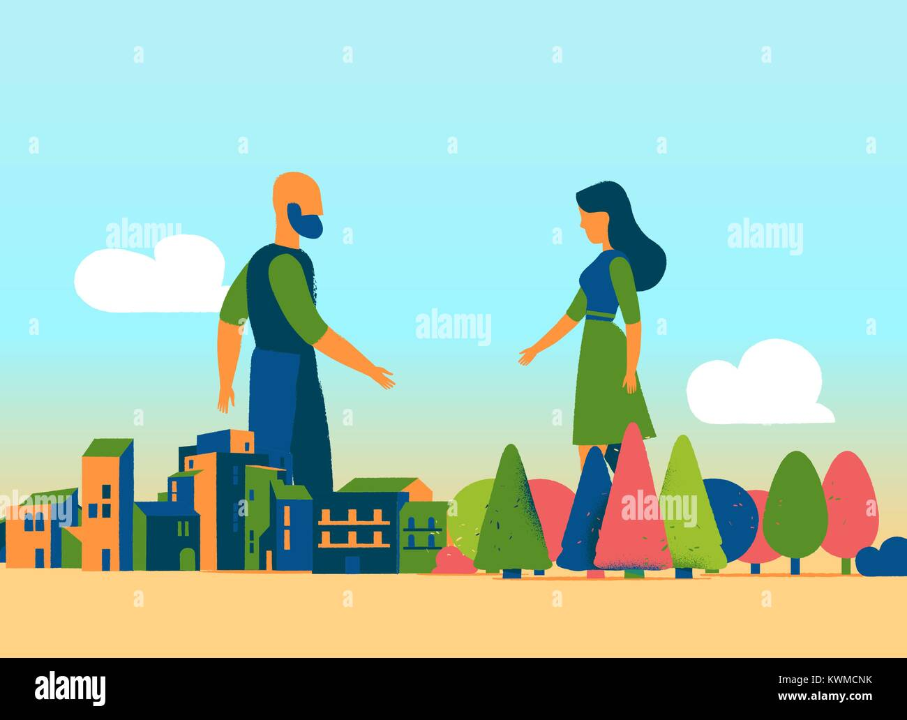 The Mother Nature meets the urban society Stock Vector