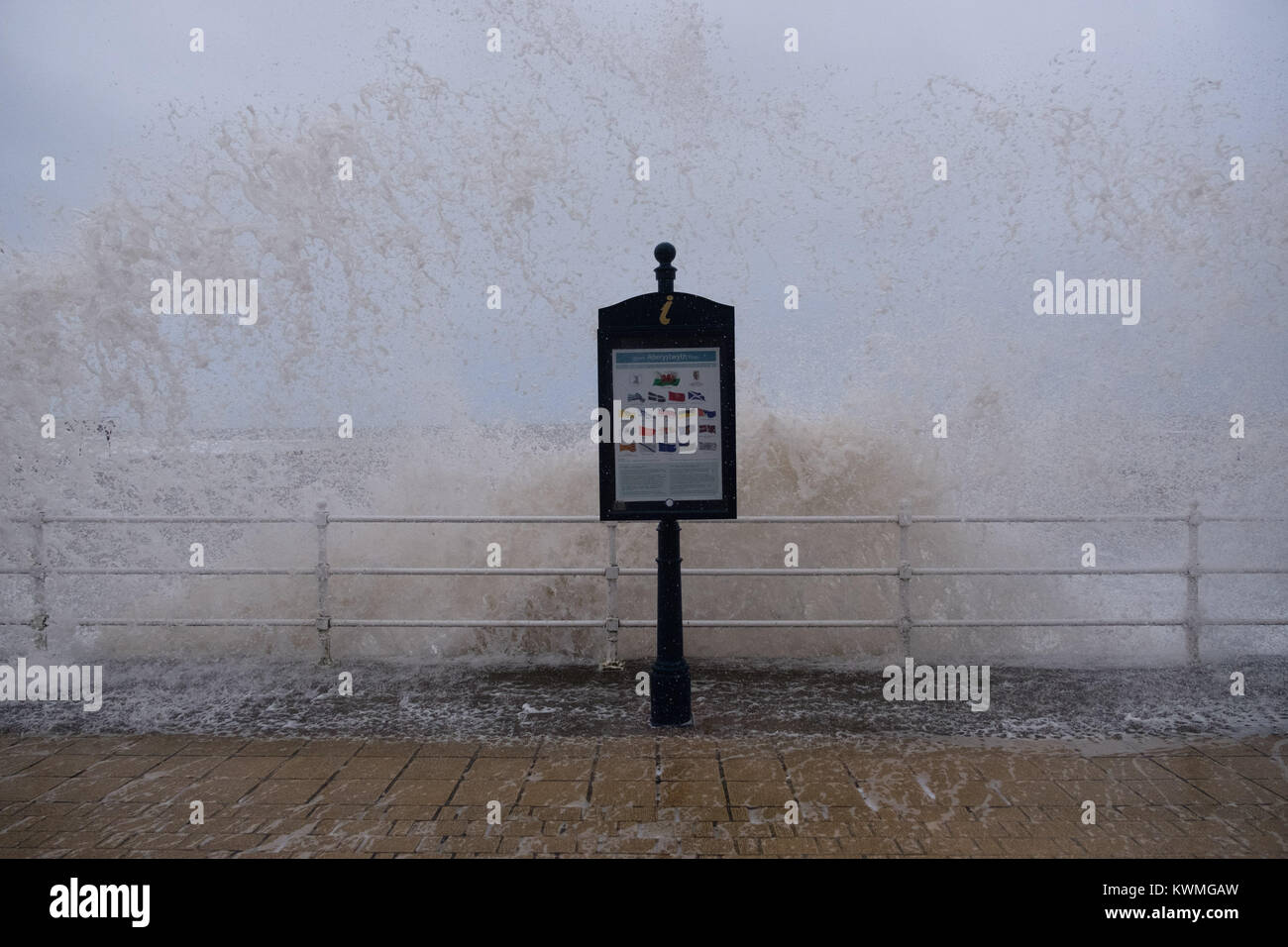 Aberystwyth Wales UK, Wednesday 04 January 2018 UK Weather : On the day after Storm Eleanor swept a trail of damage - Stock Image