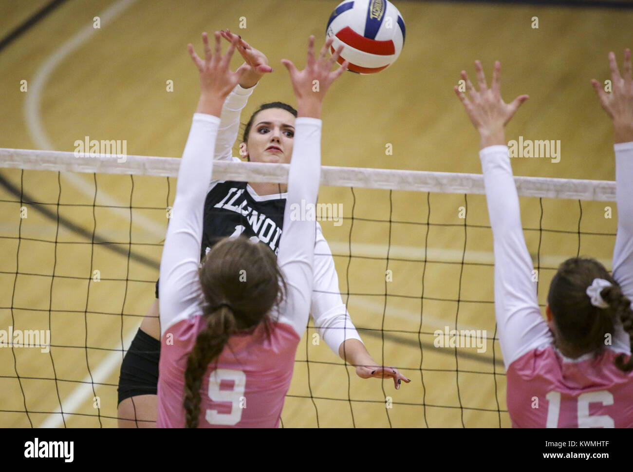 Davenport, Iowa, USA. 20th Nov, 2017. Illinois' Lily Gerth of Geneseo (11) attacks to hit the ball over the - Stock Image