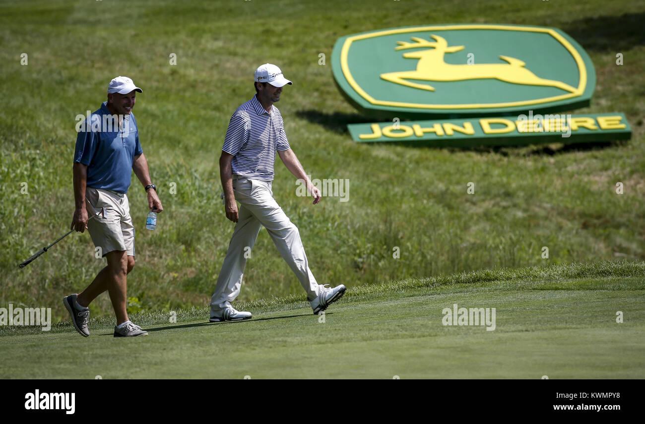 Davenport, Iowa, USA. 10th Aug, 2016. Professional Golfer Sean O'Hair walks toward his ball on the 16th hole - Stock Image