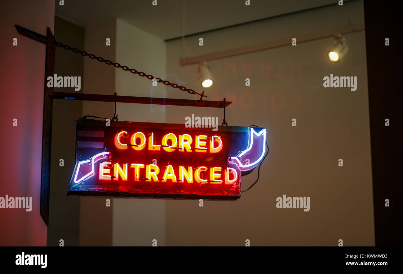 Davenport, Iowa, USA. 7th Mar, 2017. A ''Colored Entranced'' sign is seen at the entrance to the - Stock Image