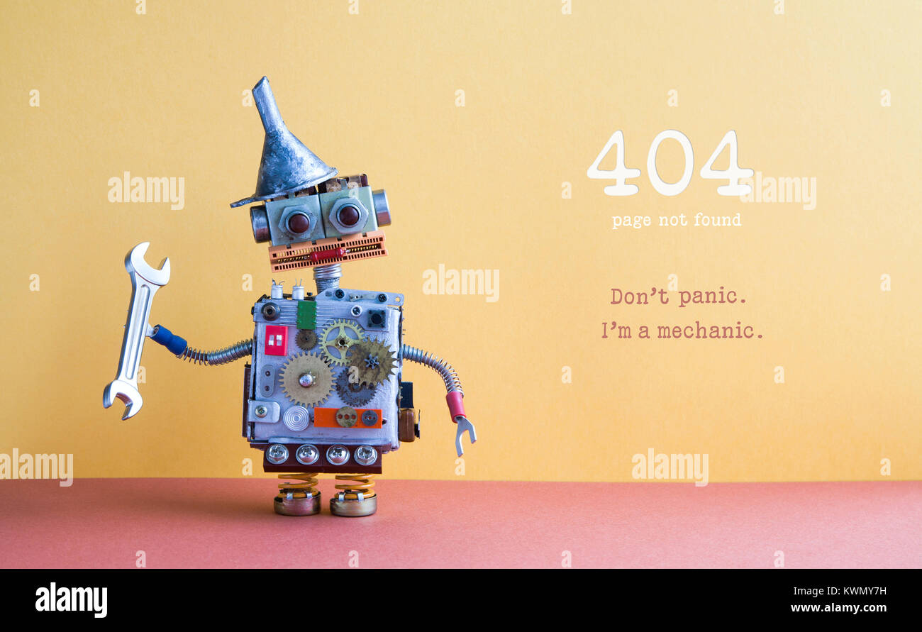 404 error page not found. Robot handyman pliers adjustable spanner on yellow red background. Fixing maintenance - Stock Image