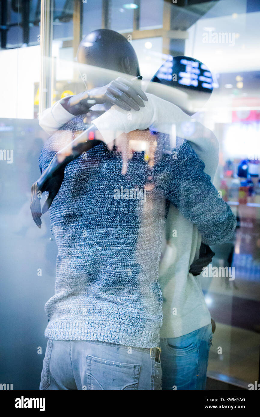 Young Couple In Love Hugging At Arrivals Or Departure In A Modern Stock Photo Alamy