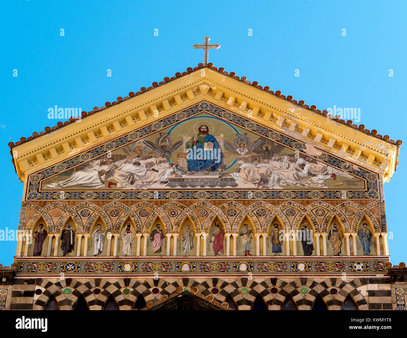 Mosaiced tympanum on the exterior of Amalfi Cathedral. Amalfi, Italy. - Stock Image