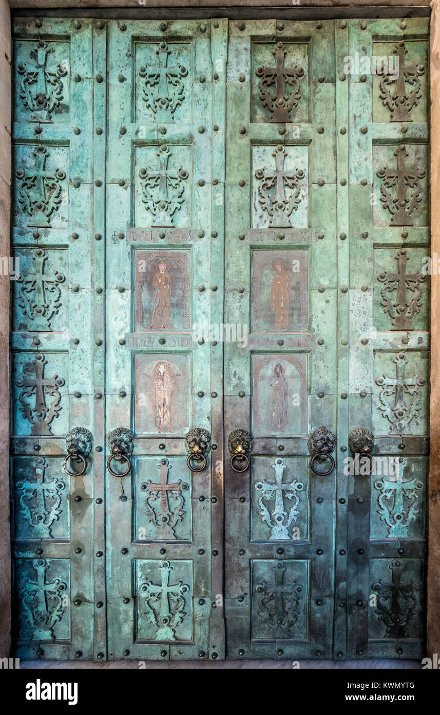 Amalfi cathedral's bronze doors are the earliest in Italy of post-Roman manufacture. Amalfi, Italy - Stock Image