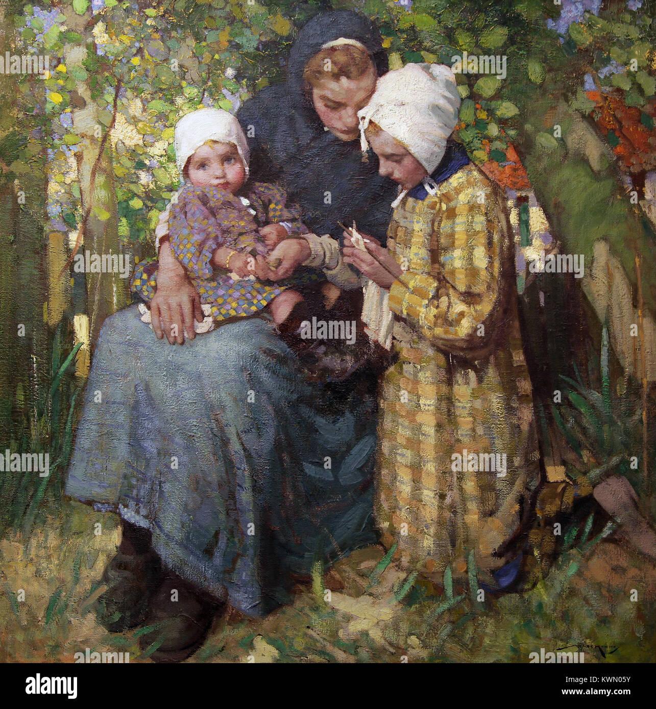 La leçon de tricot by William Lee Hankey (1869-1943) - Stock Image