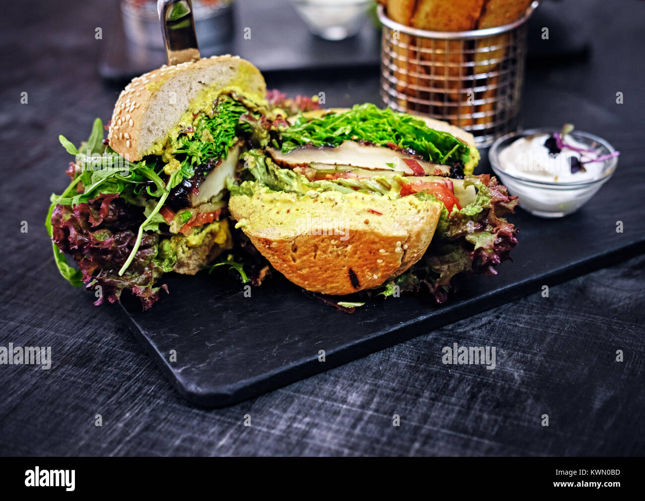 Vegan mushroom burger with salad - Stock Image