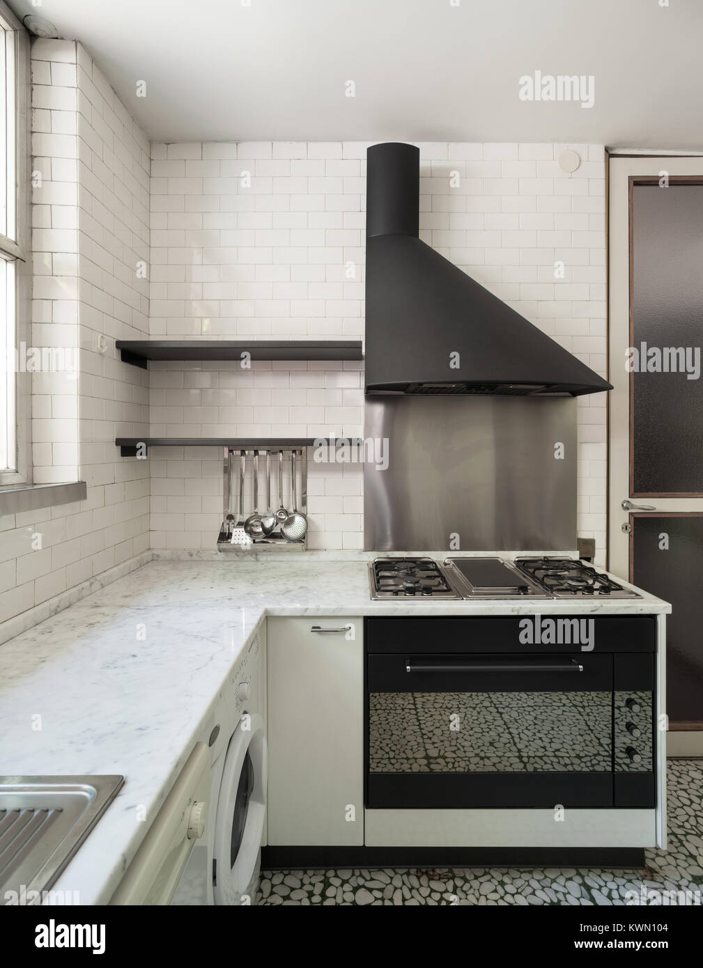 Old domestic kitchen of an apartment, gas stove with hood Stock ...