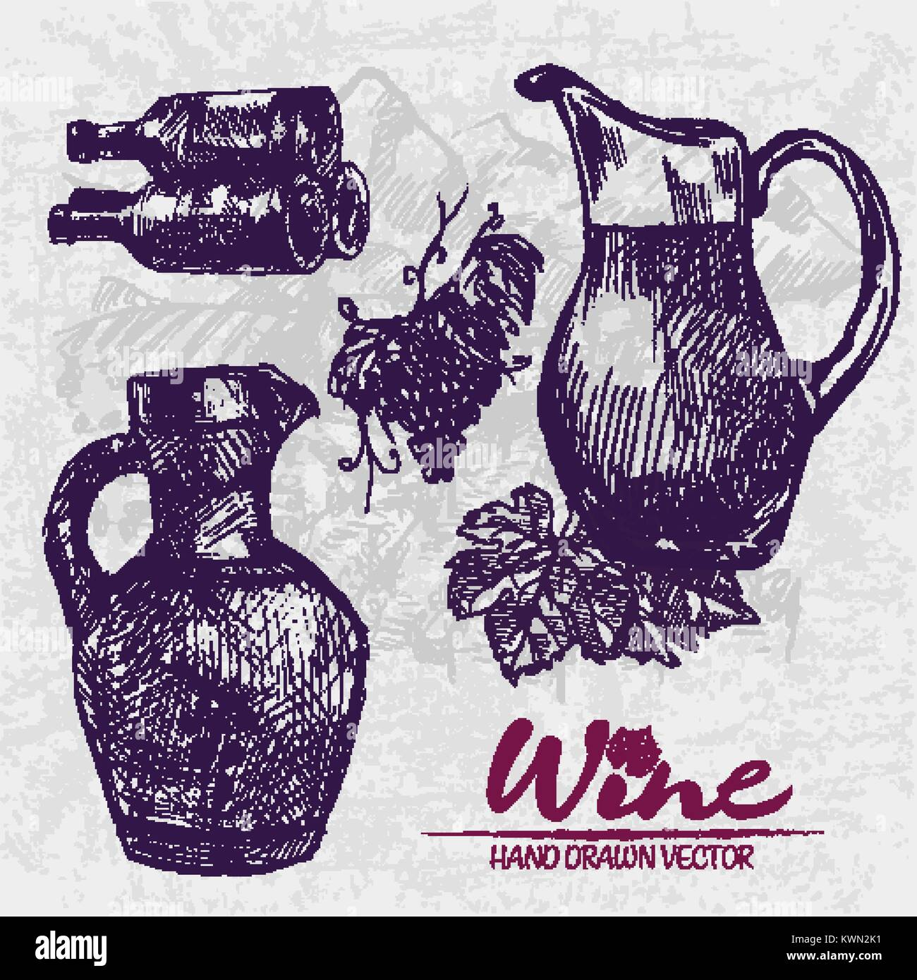 Digital color vector detailed line art ornamented and transparent pitchers, wine bottles stacked and bunches with Stock Vector