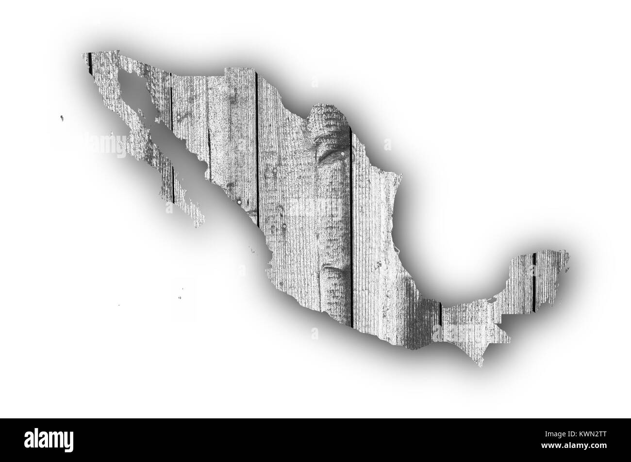Map of Mexico on weathered wood - Stock Image