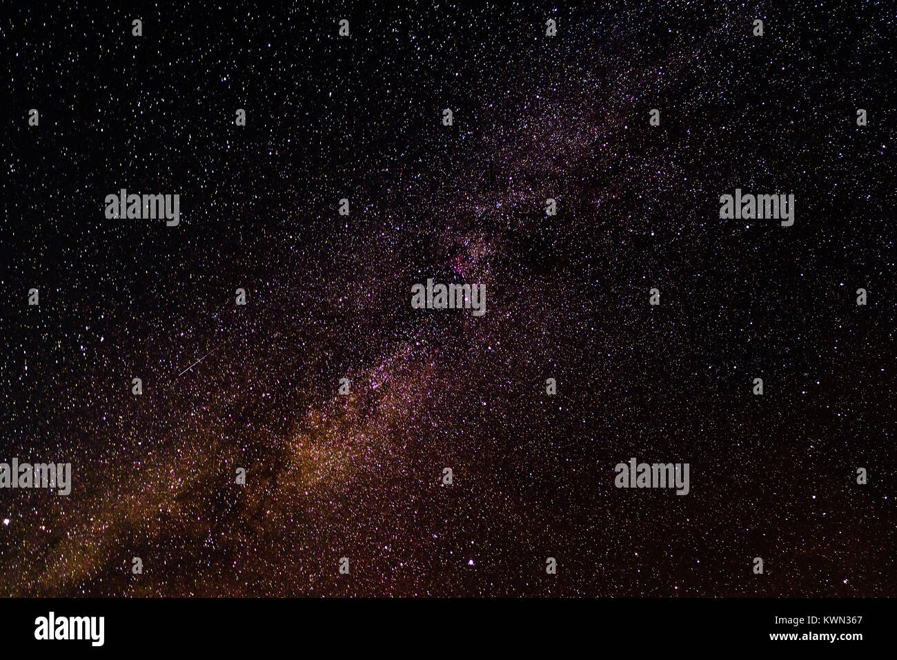 Milky Way Galaxy, Long exposure photograph, with grain - Stock Image