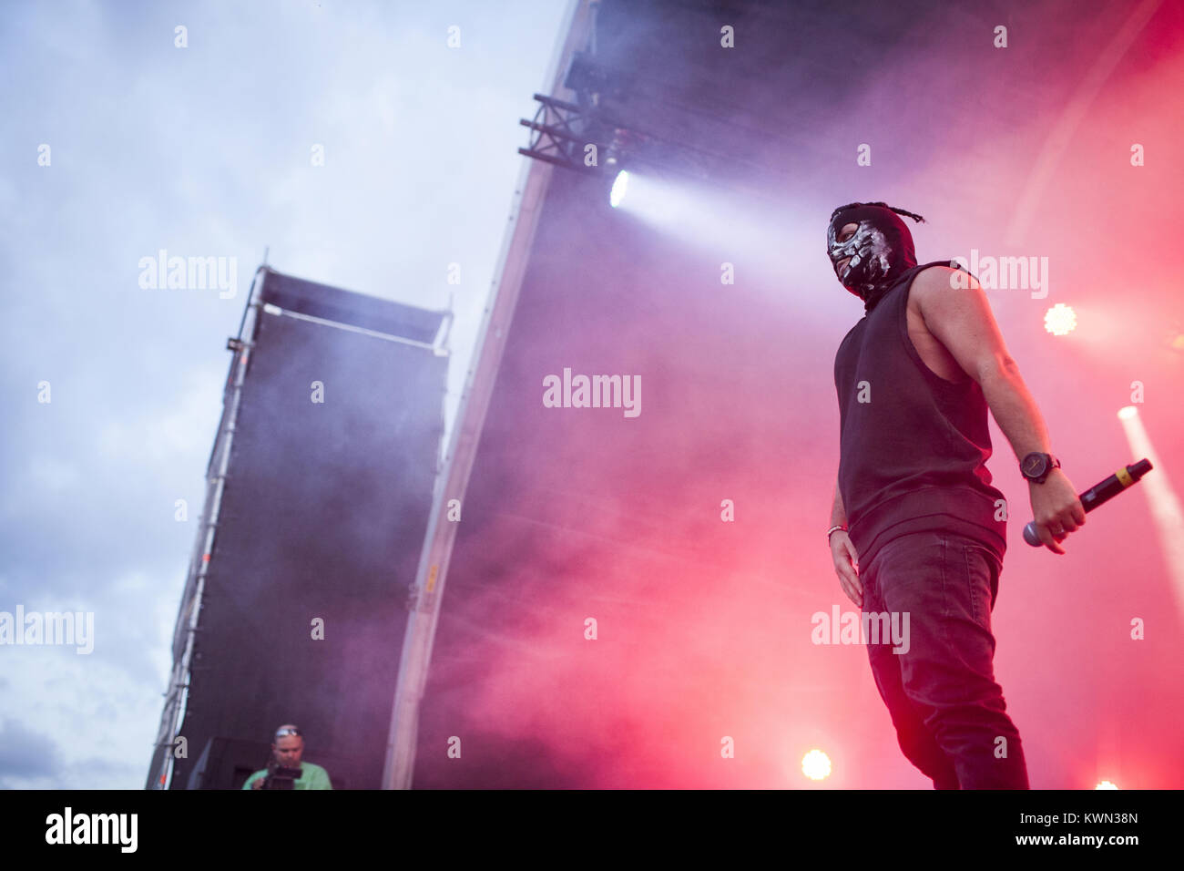 The German rapper Karuzo pictured at a live Genetikk gig at