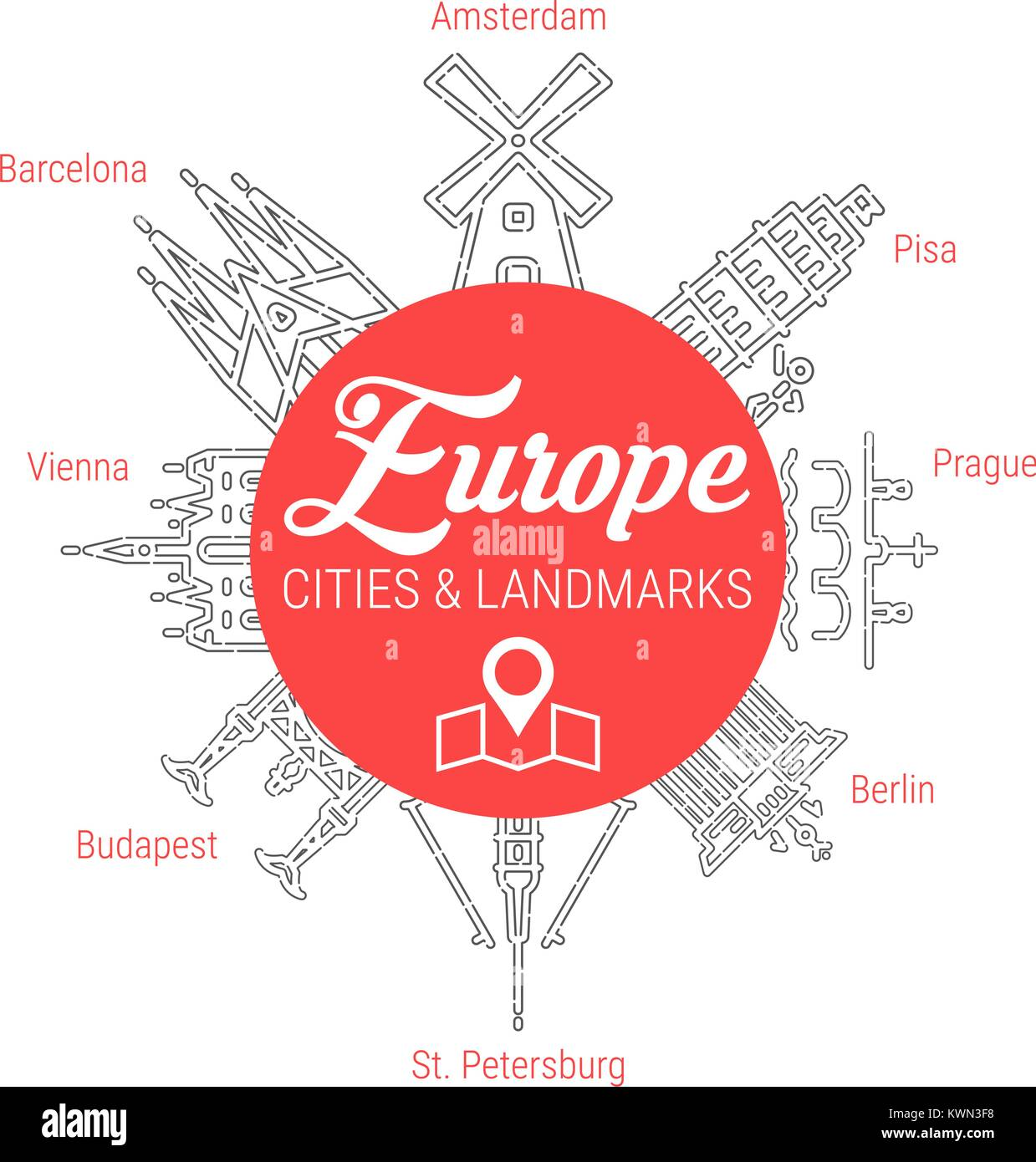 Famous European Landmarks. Line Vector Icon Set - Stock Vector