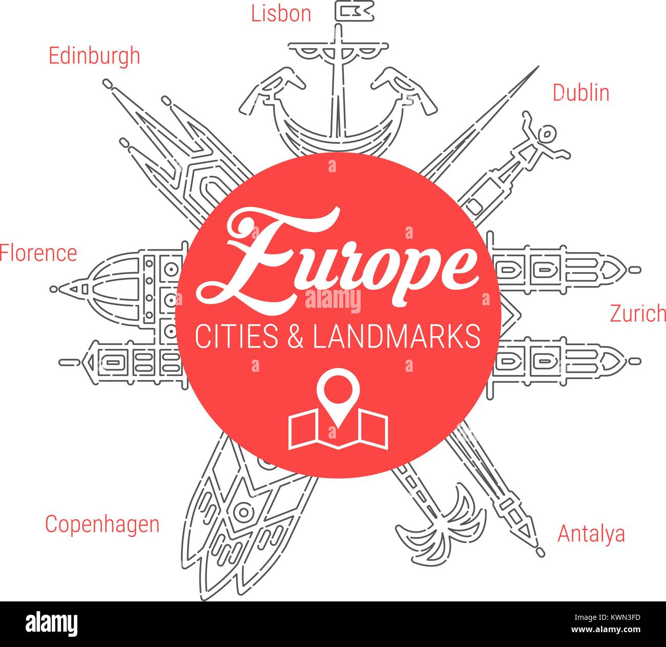 Famous European Landmarks. Line Vector Icon Set - Stock Vector