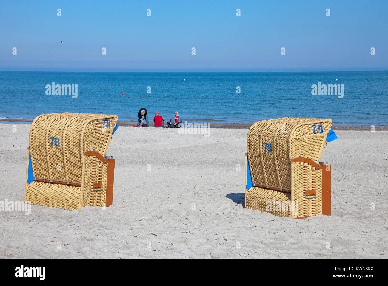 Two beach chairs at the beach of Dierhagen, Fishland, Mecklenburg-Western Pomerania, Baltic sea, Germany, Europe - Stock Image