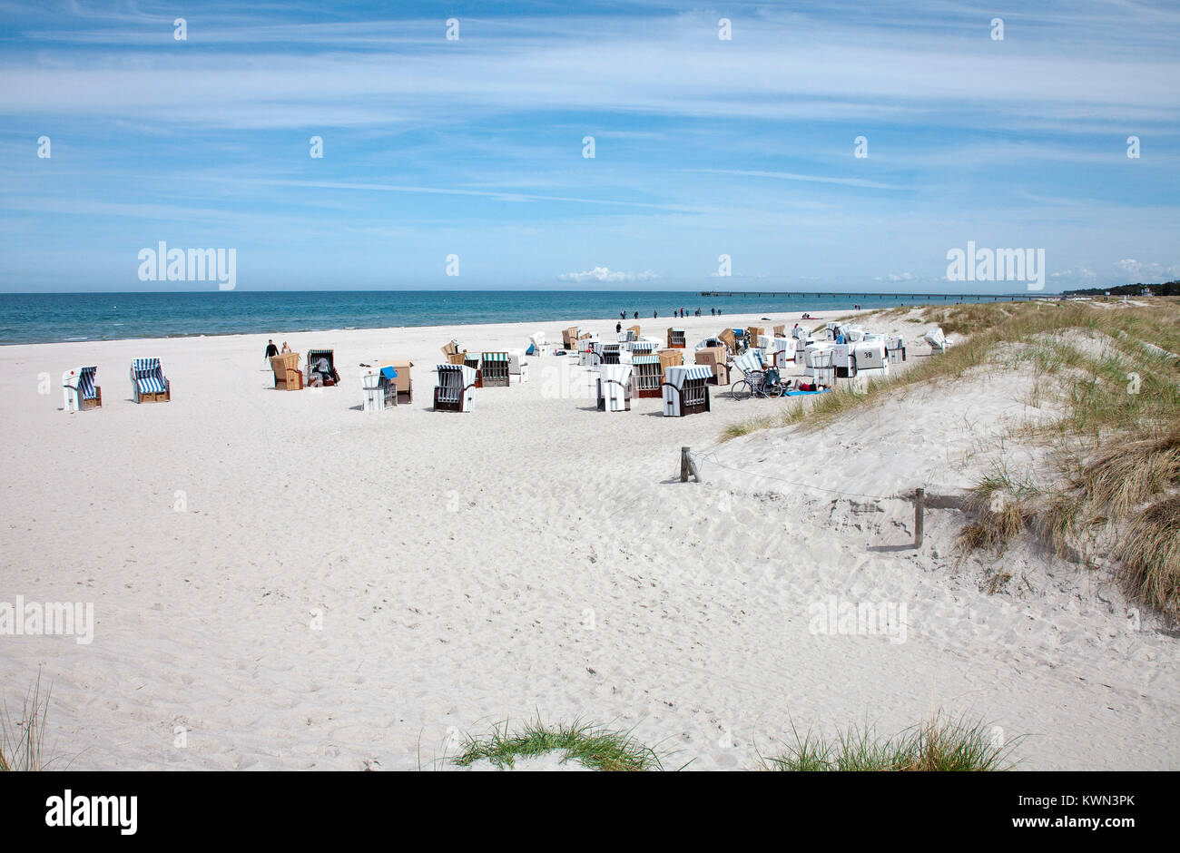 People at the beach of Prerow, Fishland, Mecklenburg-Western Pomerania, Baltic sea, Germany, Europe - Stock Image