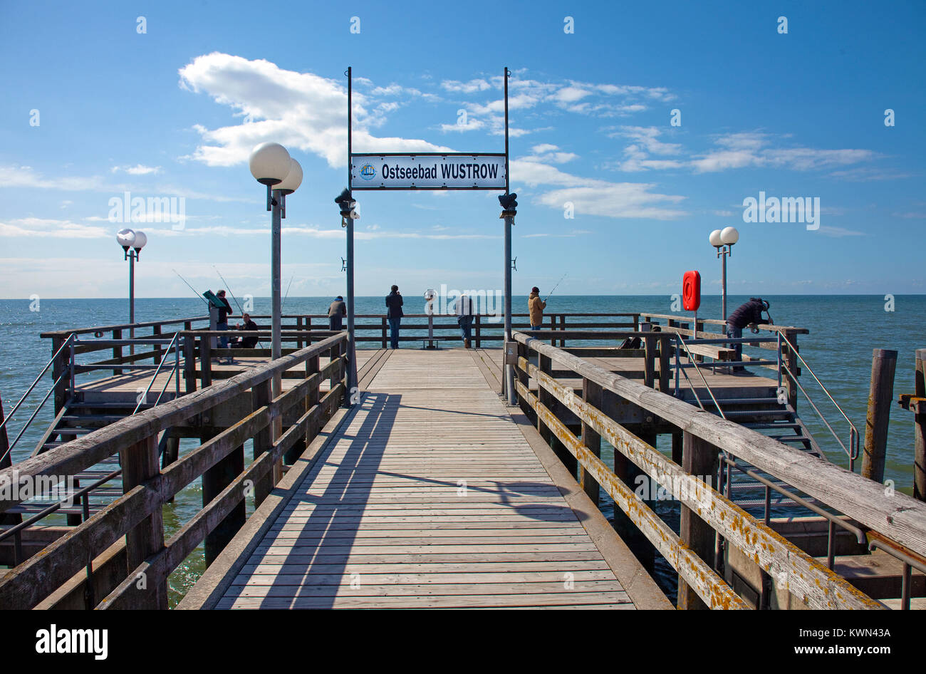 Pier of Wustrow, Fishland, Mecklenburg-Western Pomerania, Baltic sea, Germany, Europe Stock Photo