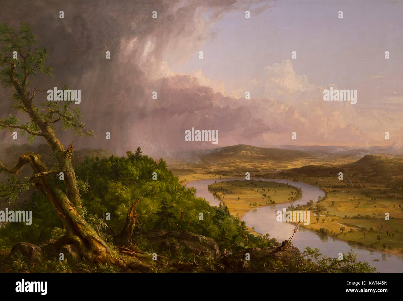 View from Mount Holyoke, Northampton, Massachusetts, after a Thunderstorm, The Oxbow, Thomas Cole, 1836, Metropolitan - Stock Image