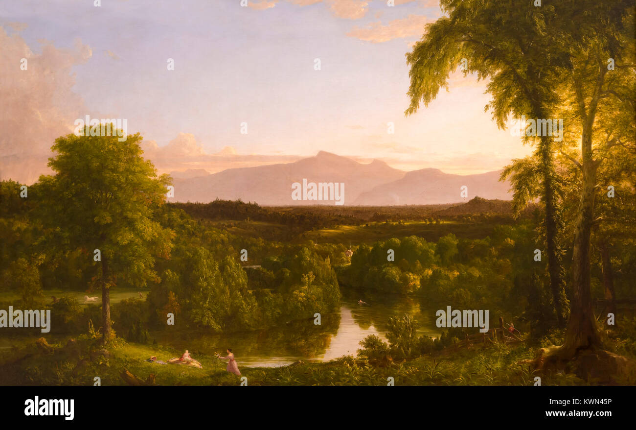 View on the Catskill, Early Autumn, Thomas Cole, 1836-1837, Metropolitan Museum of Art, Manhattan, New York City, - Stock Image