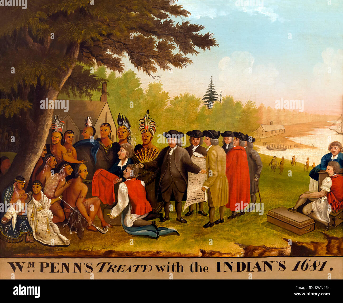 Penn's Treaty, Edward Hicks, 1836, Metropolitan Museum of Art, Manhattan, New York City, USA, North America - Stock Image