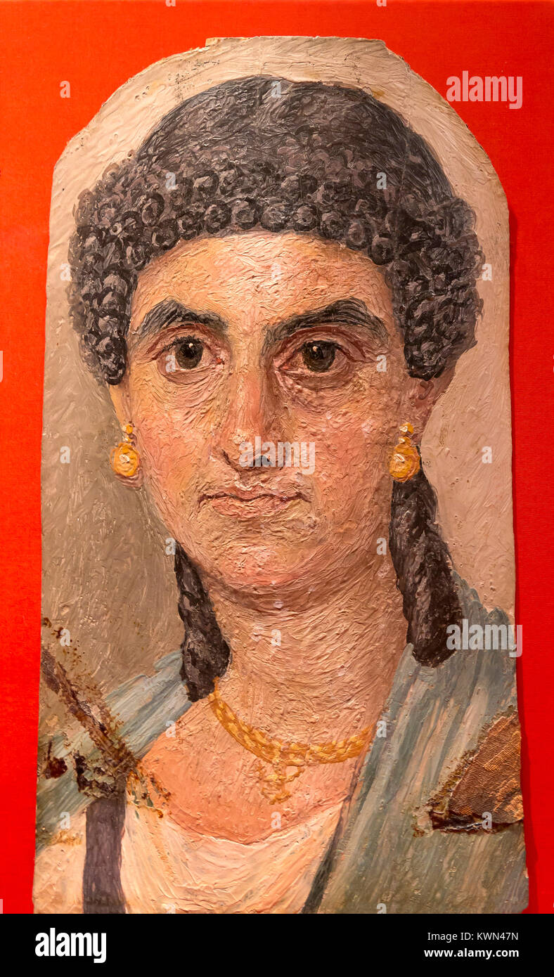 Woman in a Blue Mantle, 54-68 AD, Painted Mummy Portrait, Metropolitan Museum of Art, Manhattan, New York City, - Stock Image