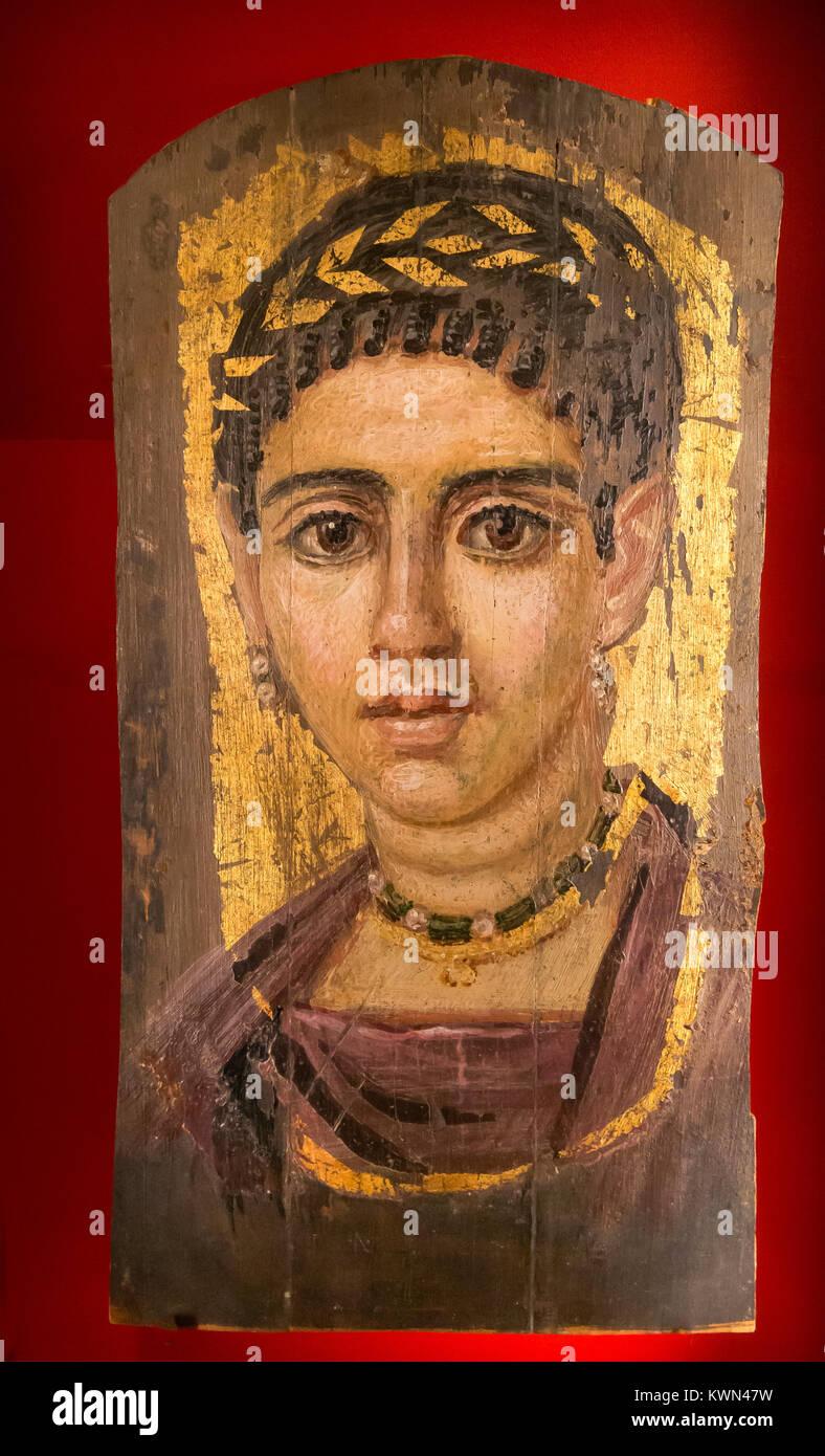 Gilded mummy portrait of a woman, Roman Period, ca 100-120