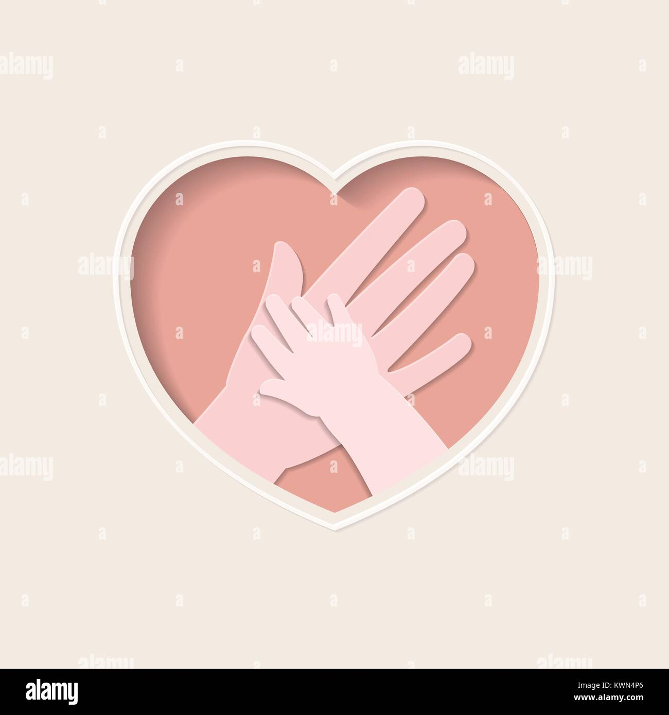 Big hand holding small one represent mother and baby, in pink heart shaped frame paper art greeting card - Stock Vector