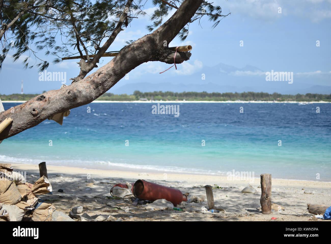 tropical paradise desert island beach gili trawangan - Stock Image