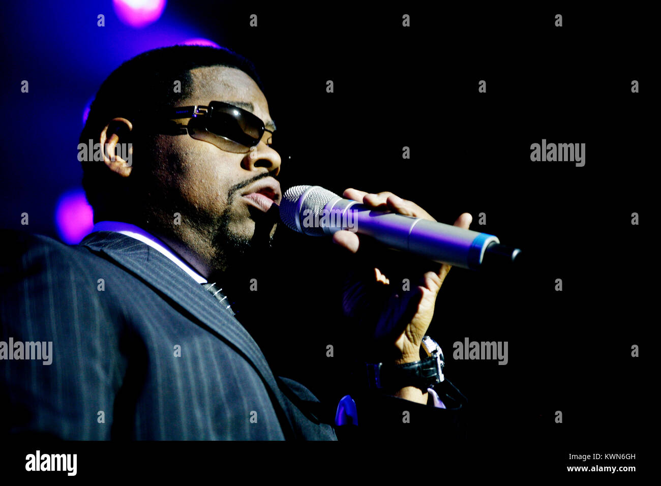 The American R&B and vocal group Boyz II Men performs a live concert at Vega in Copenhagen. Here singer Nathan - Stock Image