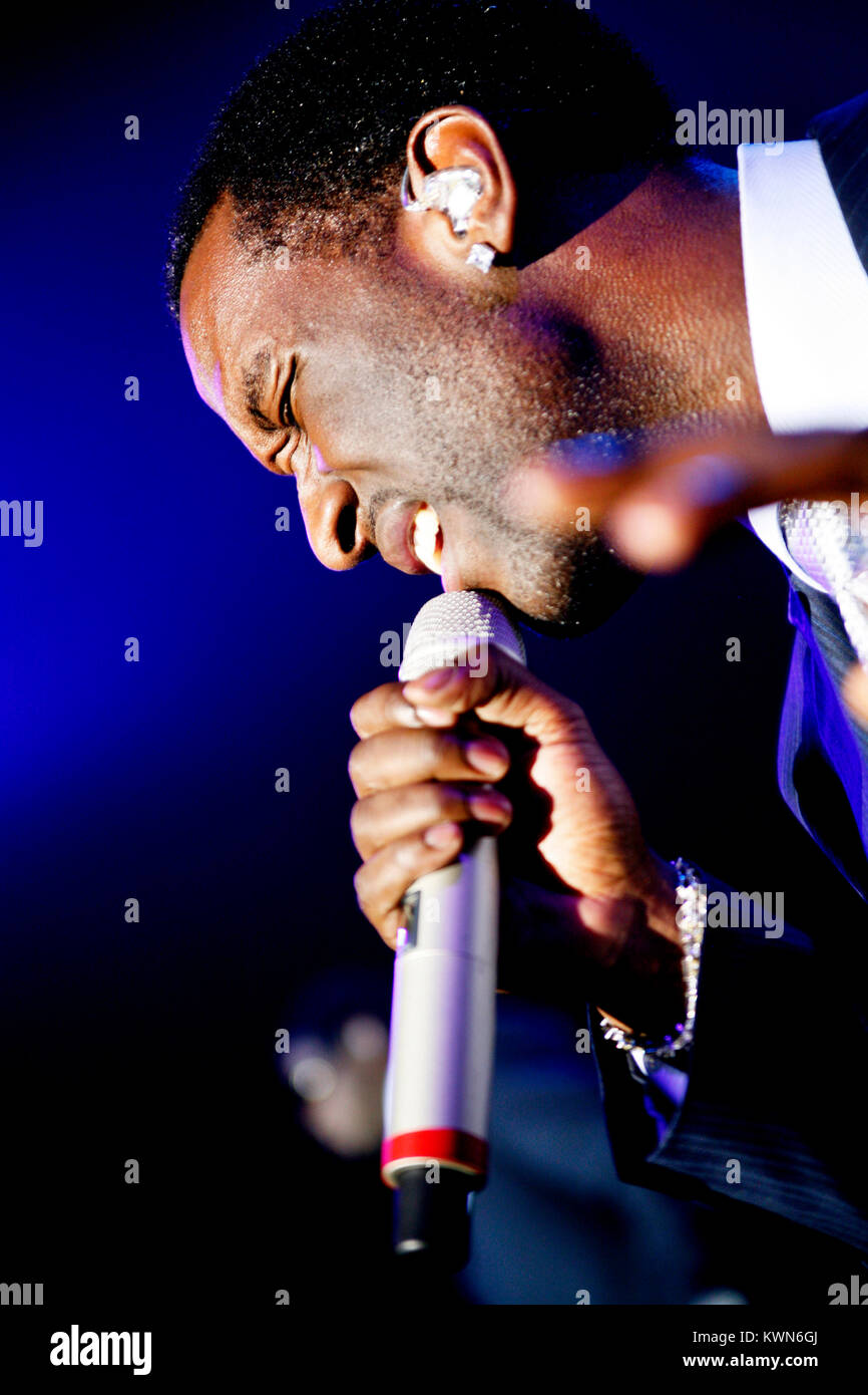 The American R&B and vocal group Boyz II Men performs a live concert at Vega in Copenhagen. Here singer Shawn - Stock Image