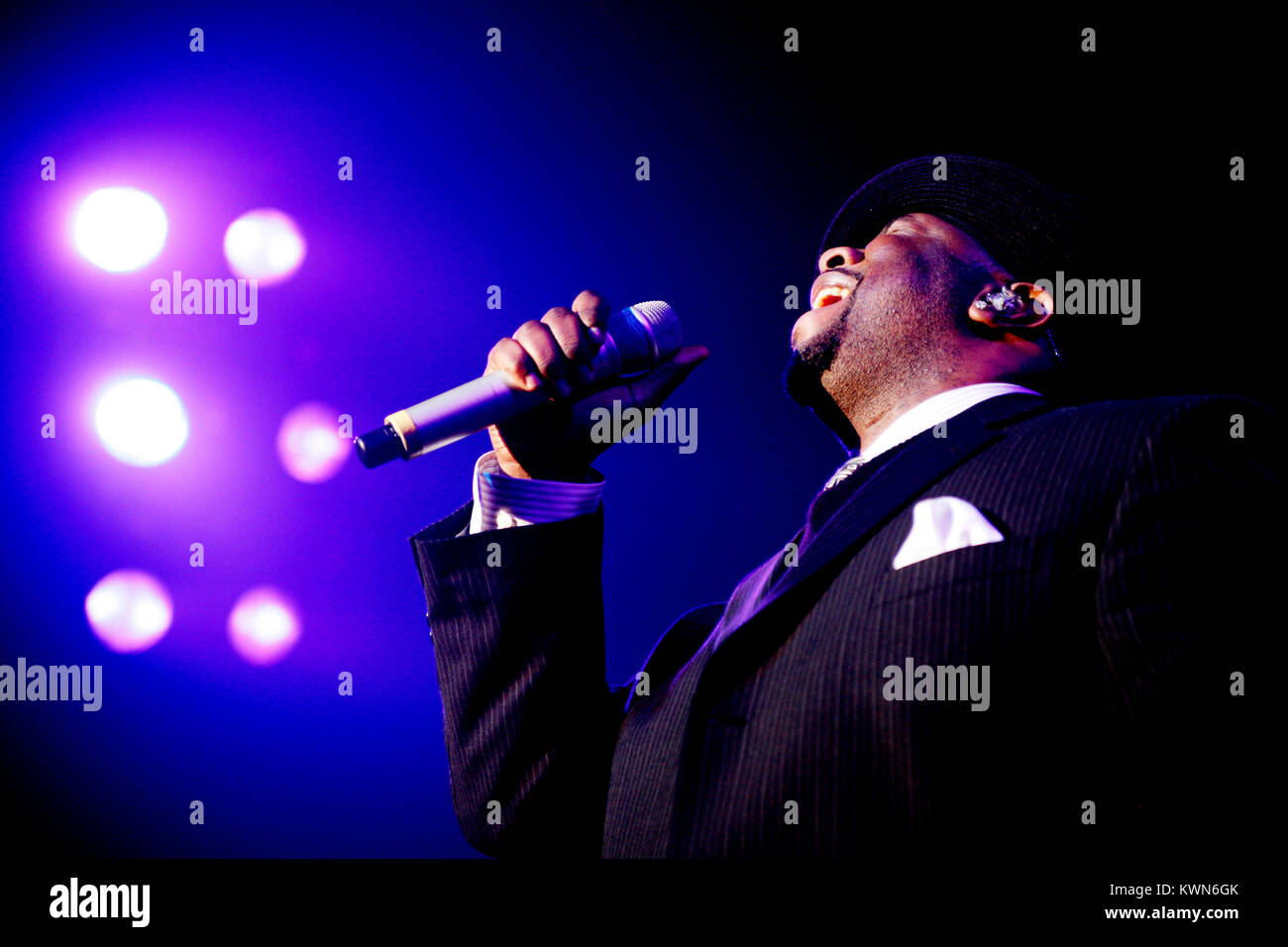 The American R&B and vocal group Boyz II Men performs a live concert at Vega in Copenhagen. Here singer Wanya - Stock Image
